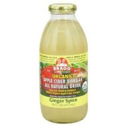Bragg Organic Apple Cider Vinegar All Natural Drink Ginger Spice 16 Oz