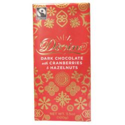 Divine Dark Chocolate Bar with Hazelnuts and Cranberries 3 5 Oz