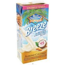 Blue Diamond Growers Breeze Almond Milk Unsweetened Almond Coconut 32 Oz
