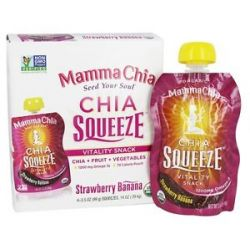 Mamma Chia Organic Chia Squeeze Vitality Snack Strawberry Banana 1200 MG 4X