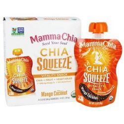 Mamma Chia Organic Chia Squeeze Vitality Snack Mango Coconut 1200 MG 4X 3 5