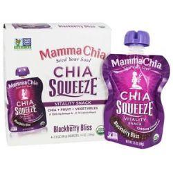 Mamma Chia Organic Chia Squeeze Vitality Snack Blackberry Bliss 1200 MG 4X