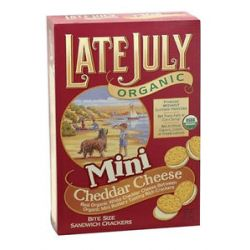 Late July Organic Mini Organic Bite Size Sandwich Crackers Cheddar Cheese 5