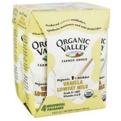Organic Valley Organic 1 Lowfat Milk Vanilla 4 x 8 oz Cartons