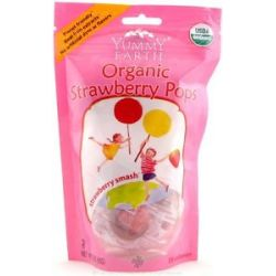 Yummy Earth Organic Lollipops Gluten Free Strawberry Smash 3 oz 85g 15