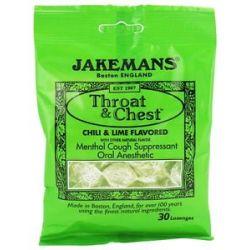 Jakemans Throat Chest Menthol Cough Suppressant Lozenges Chili Lime 30