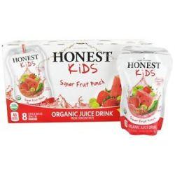 Honest Kids Organic Juice Drink Super Fruit Punch 8 x 6 75 Pouches