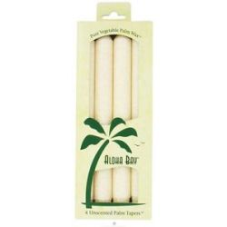 Aloha Bay Palm Tapers Unscented Candles Ivory 4 Pack