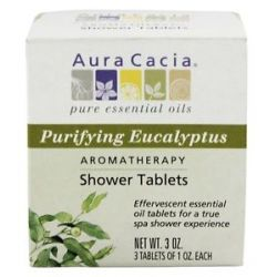 Aura Cacia Aromatherapy Shower Tablets Purifying Eucalyptus 3 Oz