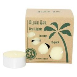 Aloha Bay 100 Vegetable Palm Wax Tea Light Candles Unscented Cream 12 Pack