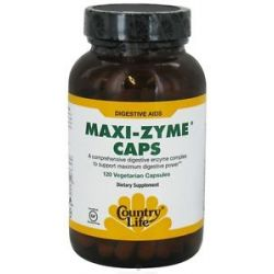 Country Life Maxi Zyme Caps Digestive Aid 120 Vegetarian Capsules 015794054276