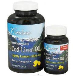 Carlson Labs Norwegian Cod Liver Oil Gems Lemon 1000 MG Bonus Pack 150 30