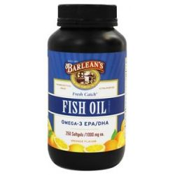 Barlean's Fresh Catch Fish Oil Omega 3 EPA DHA Orange Flavor 1000 MG 250