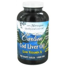 Carlson Labs Norwegian Cod Liver Oil Gems Low Vitamin A 1000 MG 300