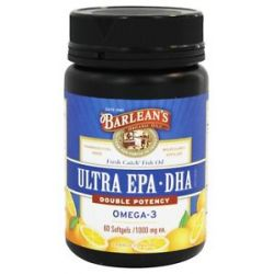 Barlean's Fresh Catch Fish Oil EPA DHA High Potency Omega 3 Orange Flavor 1000