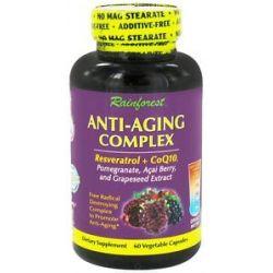 Rainforest Anti Aging Complex Resveratrol CoQ10 60 Vegetarian Capsules