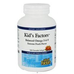 Natural Factors Kid's Factors Balanced Omega 3 6 9 Extreme Peach Flavor 180