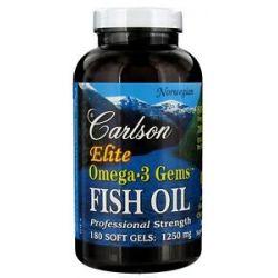 Carlson Labs Norwegian Elite Omega 3 Gems Fish Oil Professional Strength Lemon