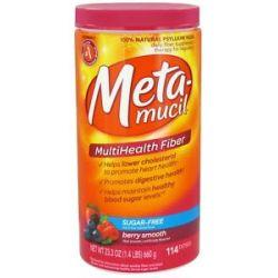 Metamucil Multihealth Fiber 100 Natural Psyllium Husk Sugarfree Berry Smooth 037000119616