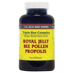 YS Organic Bee Farms Triple Bee Complex Royal Jelly Bee Pollen Propolis 90