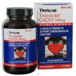 Twinlab Twinsorb CoQ10 Double Strength 100 MG 45 Softgels