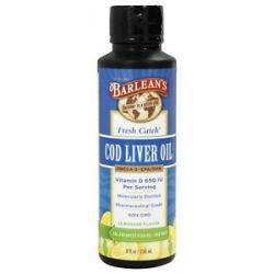 Barlean's Fresh Catch Cod Liver Oil Omega 3 EPA DHA Lemonade Flavor 8 Oz