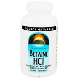 Source Naturals Betaine HCL Hydrochloric Acid Source 650 MG 180 Tablets