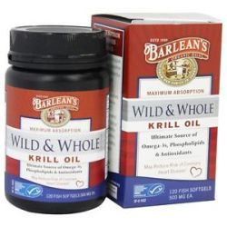Barlean's Wild and Whole Krill Oil 500 MG 120 Fish Softgel S