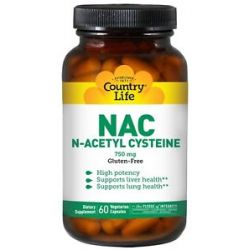 Country Life NAC N Acetyl Cysteine 750 MG 60 Vegetarian Capsules Formerly