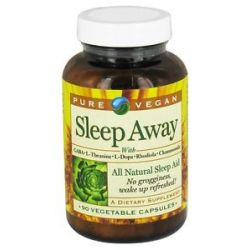 Pure Vegan Sleep Away All Natural Sleep Aid 90 Vegetarian Capsules