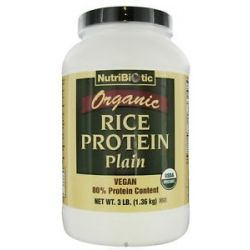 Nutribiotic Organic Vegan Rice Protein Plain Flavor 3 Lbs