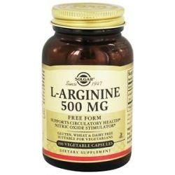 Solgar L Arginine Free Form 500 MG 100 Vegetarian Capsules