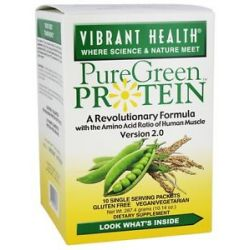 Vibrant Health Pure Green Protein Powder Natural 10 Packets 10 14 Oz