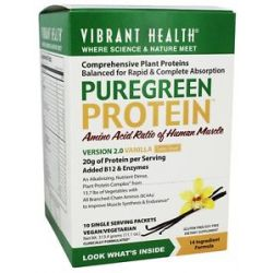 Vibrant Health Pure Green Protein Powder Vanilla 10 Packets 11 1 Oz
