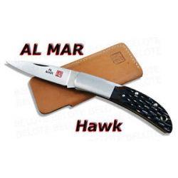 Al Mar Hawk Honey Jigged Bone Folder w Pouch 1002HJB