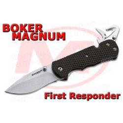 Boker Magnum First Responder Folding Knife w Strap Cutter Glass Breaker 01SC157