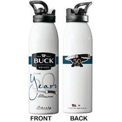 Buck Water Bottle White 24 oz 110 50th Anniversary Genuine Buck Product 95070