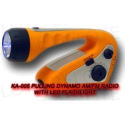 Pulling Dynamo Am FM Radio w LED Flashlight FE TC04