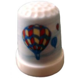 Poercelain Hot Air Ballooons Thimble Signed by Gail New