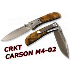 CRKT Kit Carson M4 02 Burled Wood Folder Plain M4 02w