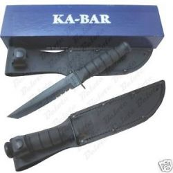 Ka Bar Knives Short Kabar Black Tanto Serrated 1255