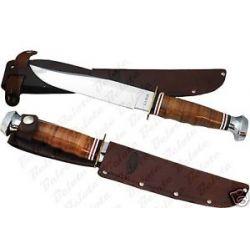 Ka Bar Kabar Leather Handled Bowie Knife w Sheath 1236 New
