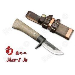 "Kanetsune Shun 2 Small Blue Steel Damascus 15 Layers 7 5"" w Sheath KB 253 New"