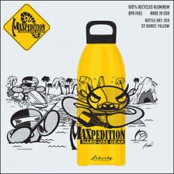Maxpedition Yellow 32 oz BPA Free Aluminum Water w Sea Artwork LB32SEAY