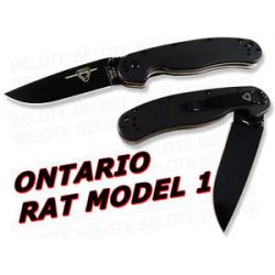 Ontario Randall Rat Model 1 Folder Black Plain 8846 New