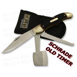 Schrade Old Timer Folding Hunter w Saw Hatchet 220OT