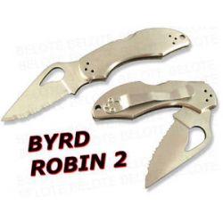 Spyderco Byrd Robin 2 SS Serrated Edge Knife BY10S2 New