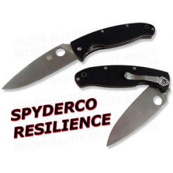 Spyderco Resilience G 10 Handle Plain Edge Knife C142GP