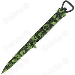 United Cutlery Black Legion Skull Camo Assisted Folder Stiletto Green BV202 New