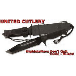 United Cutlery Black Night Stalker Tanto Sawback w Nylon ABS Sheath UC2830 New